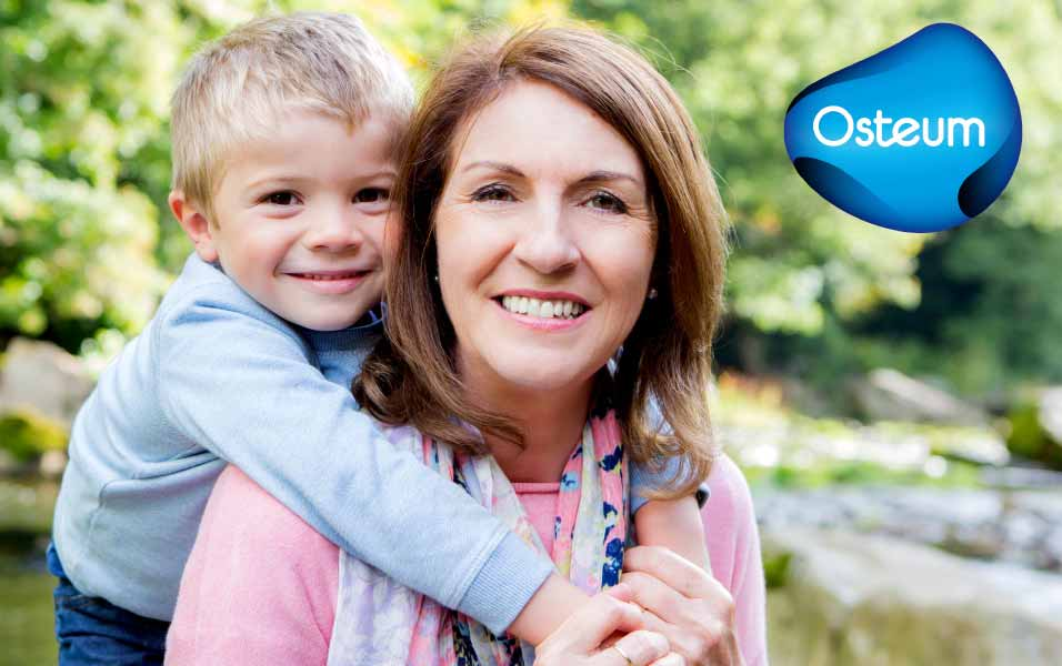 osteum - mother and son outside and happy